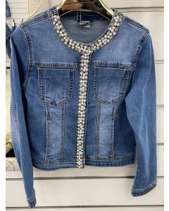 Giacca jeans con perle