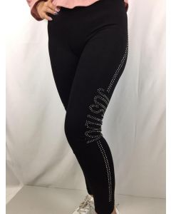 Leggins neri con riga strass e scritta Just do it art_F556