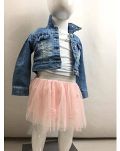 Completo baby femmina con giacca jeans e gonna in tulle art_F3132